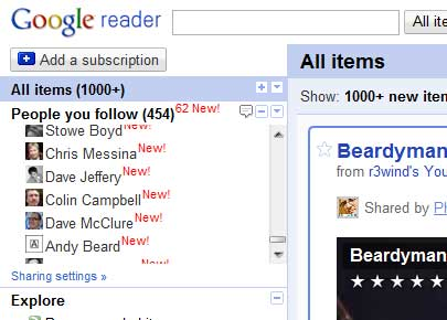 reader clogged by Google Buzz