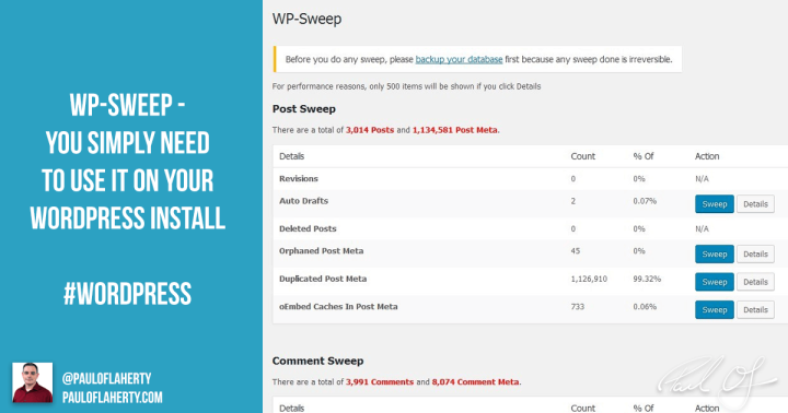 WP-Sweep - Keep Your WordPress Database Running Smooth