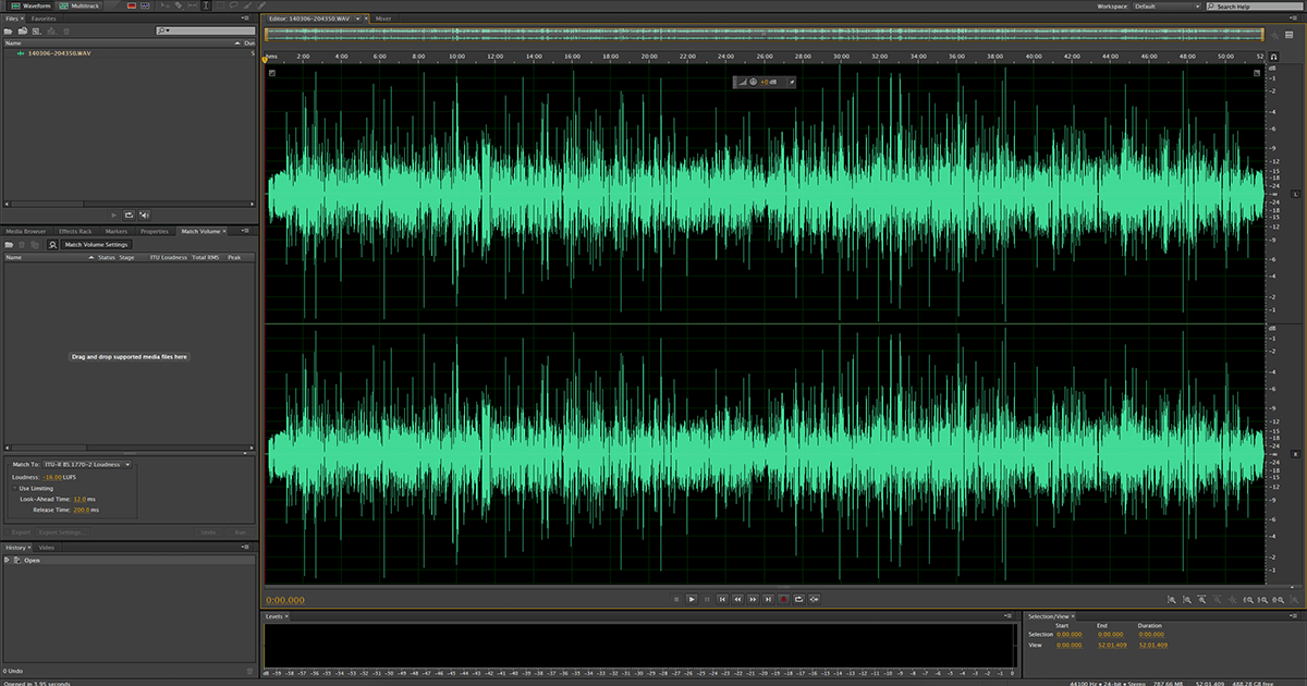 Audio stereo WAV in Audition CC
